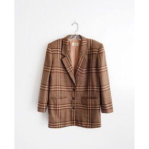 Vintage 80s Brown Tan Plaid Blazer size 4